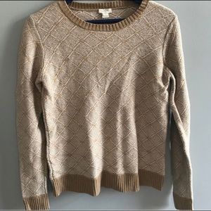 J. Crew cream tan patterned merino wool sweater